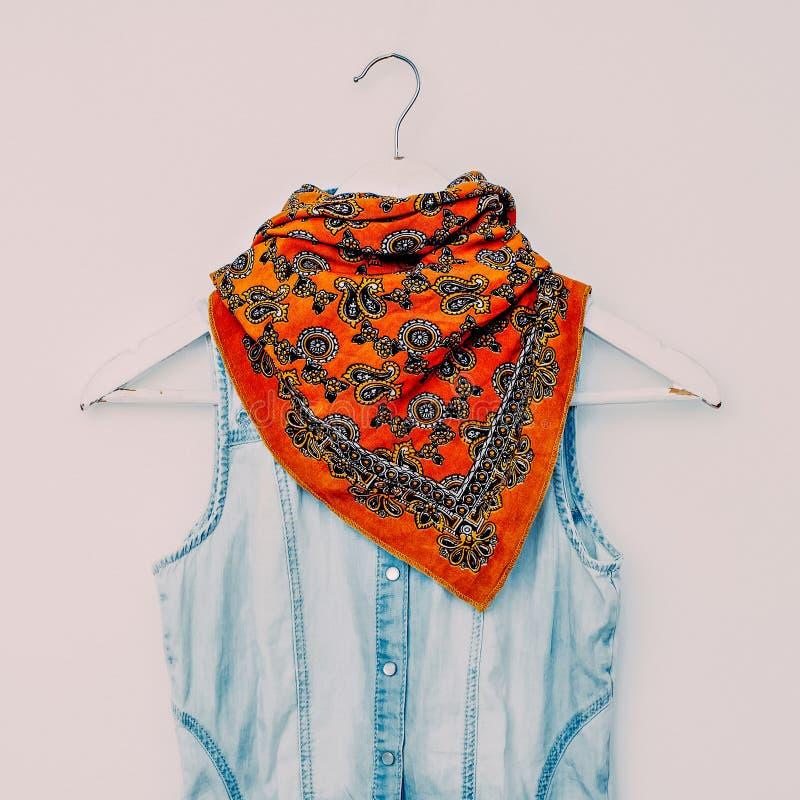 明亮的与牛仔布衣物的围巾印刷品土耳其黄瓜 方式 免版税库存图片