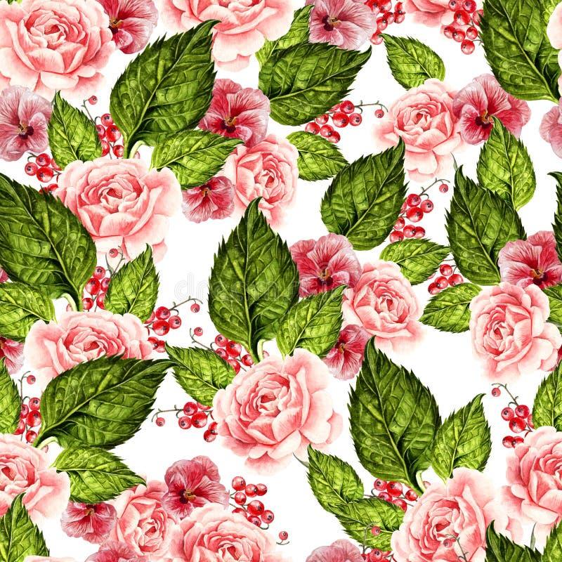 明亮的与牡丹、玫瑰和紫罗兰花,莓果的水彩无缝的样式 向量例证
