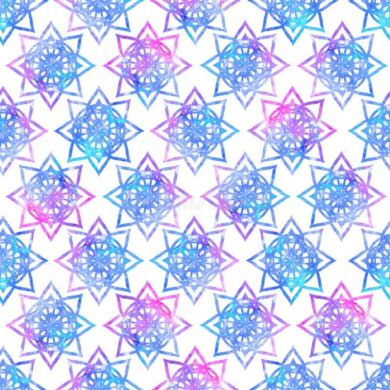 明亮的五颜六色坛场花几何形状摘要的难看的东西飞溅纹理,在蓝色桃红色的水彩无缝的样式设计 皇族释放例证