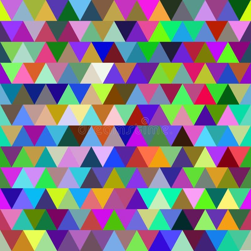 明亮的五颜六色的与三角的传染媒介无缝的样式 抽象背景 向量例证