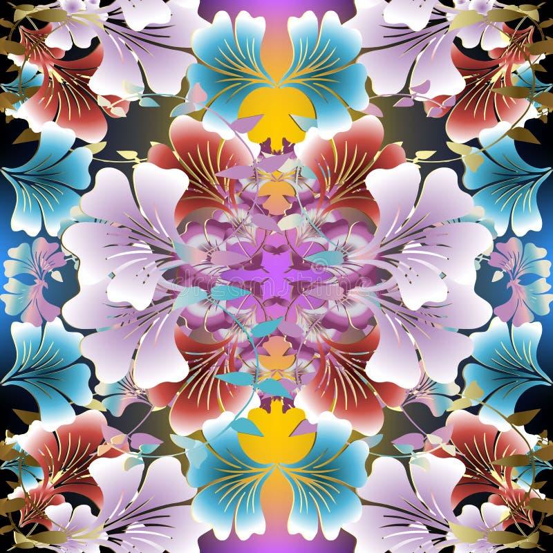 明亮的五颜六色的传染媒介花卉无缝的样式 春天夏天花 皇族释放例证
