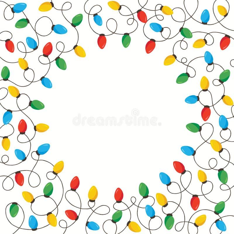明亮的五颜六色的假日圣诞节和新年交错在白色背景正方形圆的框架的串光 库存例证
