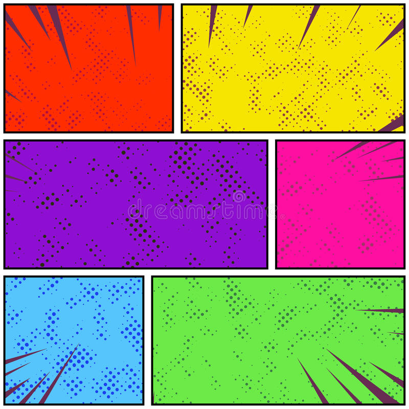 明亮的五颜六色的减速火箭的样式流行艺术可笑的页小条 抽象d 向量例证