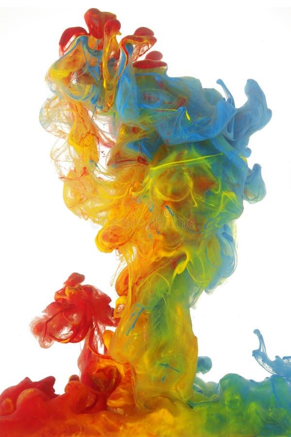 明亮的五颜六色的墨水云彩  免版税库存照片