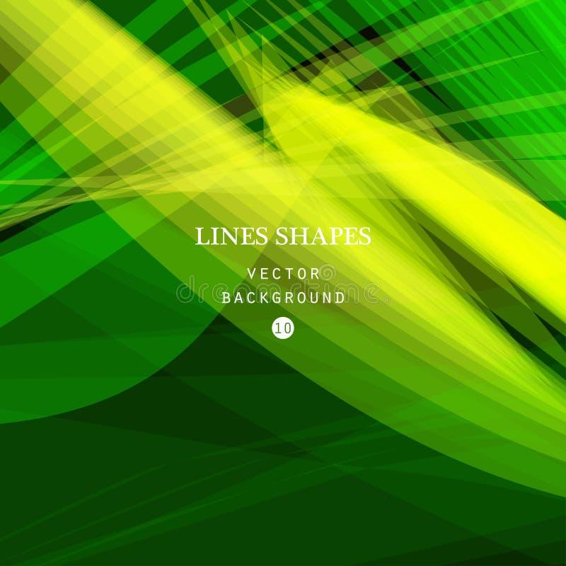 明亮的五颜六色的现代镶边抽象背景传染媒介 绿色 皇族释放例证