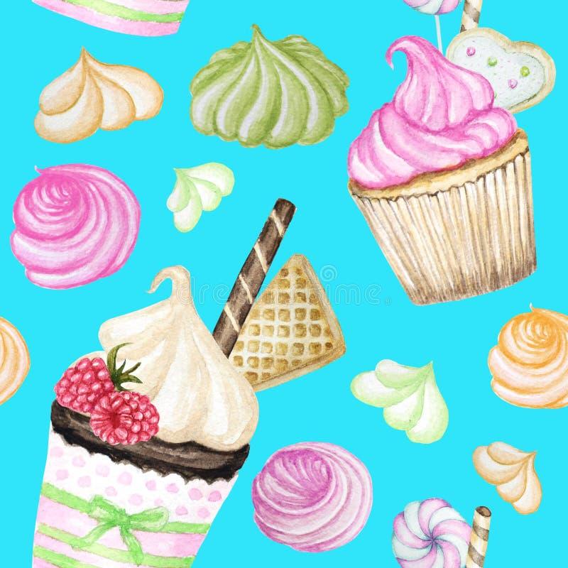 明亮的五颜六色的甜可口水彩无缝的样式用杯形蛋糕 在明亮的蓝色背景的被隔绝的元素 免版税库存照片