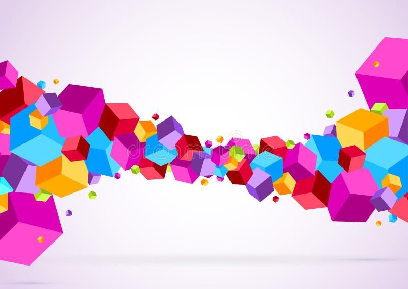 明亮的五颜六色的立方体波浪 皇族释放例证