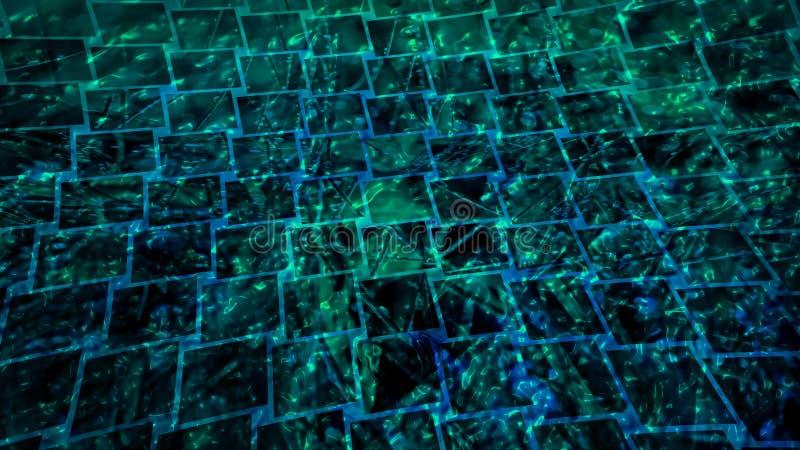 明亮的五颜六色的绿色瓦片马赛克背景 向量例证