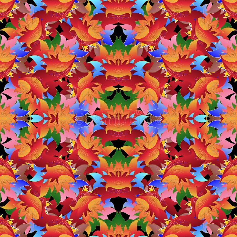 明亮的五颜六色的花卉传染媒介无缝的样式 多色repea 皇族释放例证