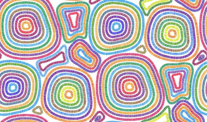 明亮的五颜六色的被缝的圈子种族样式传染媒介无缝的样式瓦片 库存例证