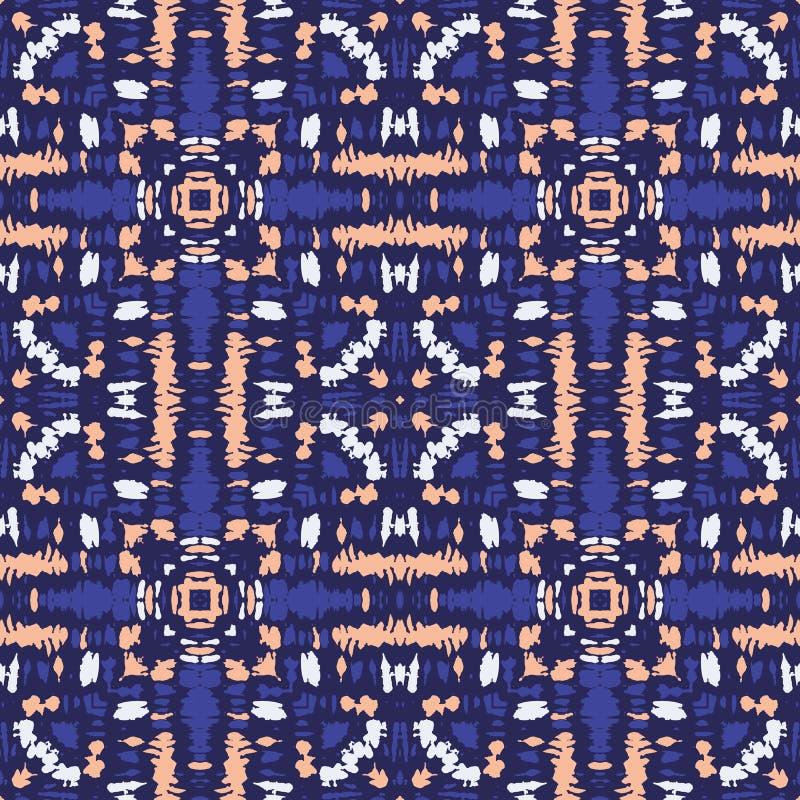 明亮的五颜六色的领带染料Shibori万花筒反映了在黑暗的靛蓝背景传染媒介无缝的样式的方形的瓦片 皇族释放例证
