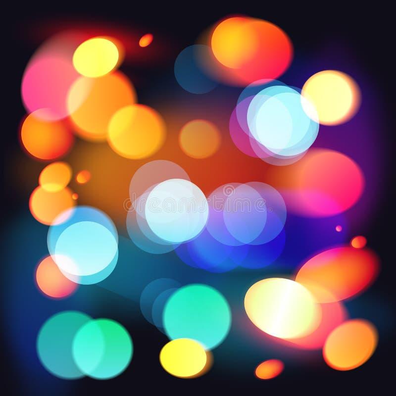 明亮的五颜六色的bokeh传染媒介摘要背景 向量例证