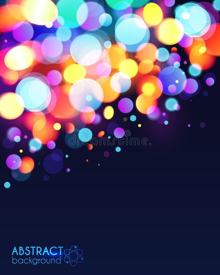 明亮的五颜六色的bokeh光线影响摘要 向量例证