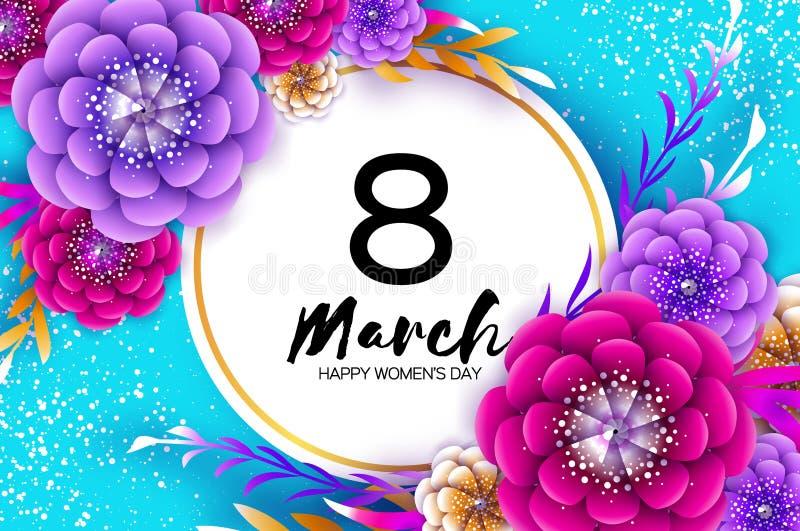 明亮的五颜六色的Origami花 愉快的妇女s天 3月8日 时髦母亲s天 纸被切开的异乎寻常热带花卉 库存例证