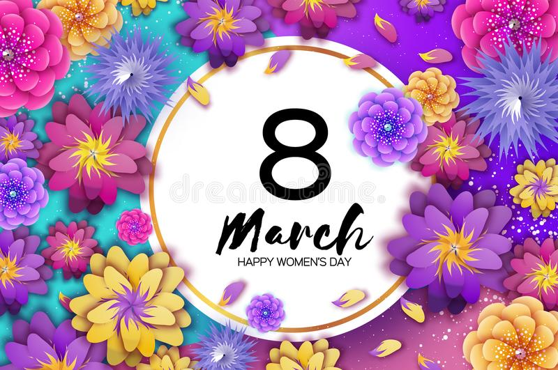 明亮的五颜六色的Origami花 愉快的妇女s天 3月8日 时髦母亲s天 纸被切开的异乎寻常热带花卉 向量例证