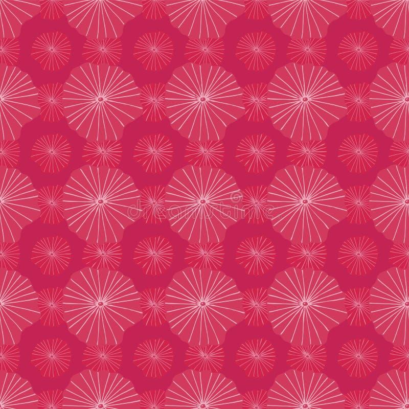 明亮的代表莲花叶子或水母在蜡染布的抽象有机形状的桃红色传染媒介无缝的重复样式部族 库存例证
