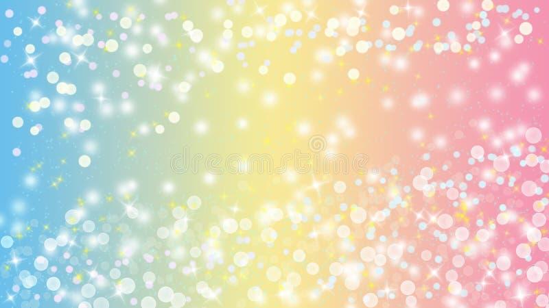 明亮的光、Bokeh和闪烁的闪闪发光在淡色蓝色,黄色和桃红色背景中 库存例证