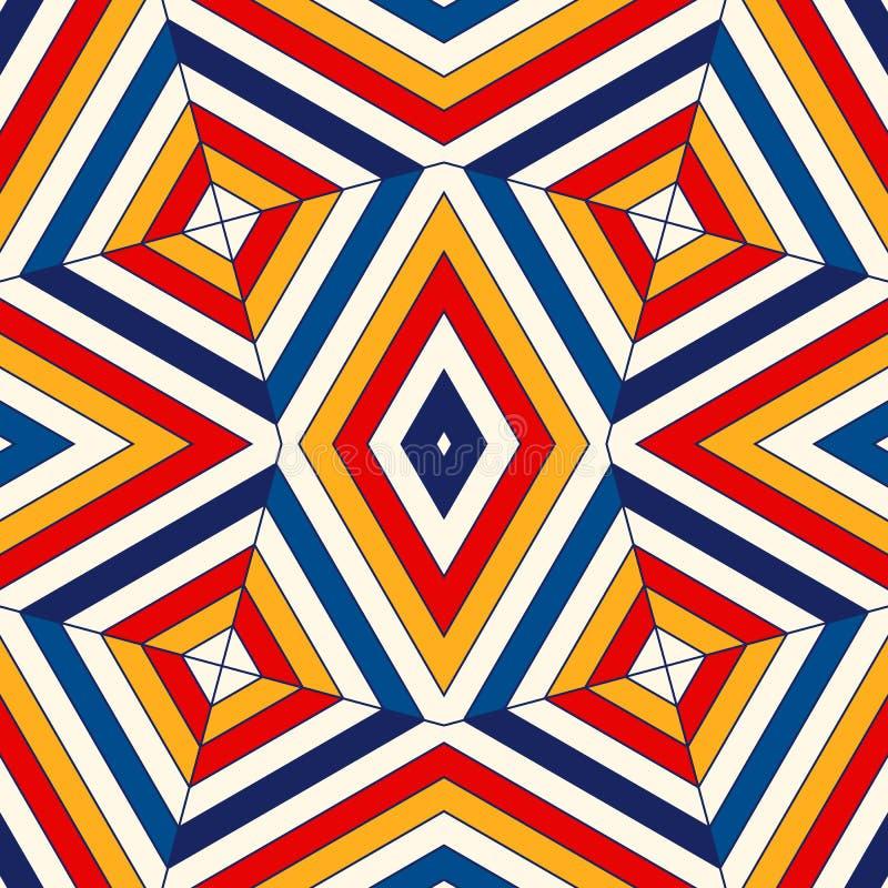明亮的几何抽象背景 与万花筒装饰品的无缝的样式 装饰生动的墙纸 库存例证