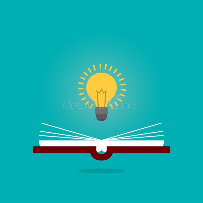 明亮的创造性的在开放书的想法电灯泡,认为想法概念,平的样式例证 向量例证