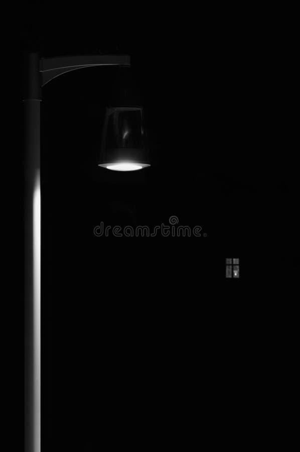 明亮的升室外灯笼灯波兰人岗位,偏僻的概念孑然隐喻,有启发性窗口光垂直离开的夜公园 免版税库存图片
