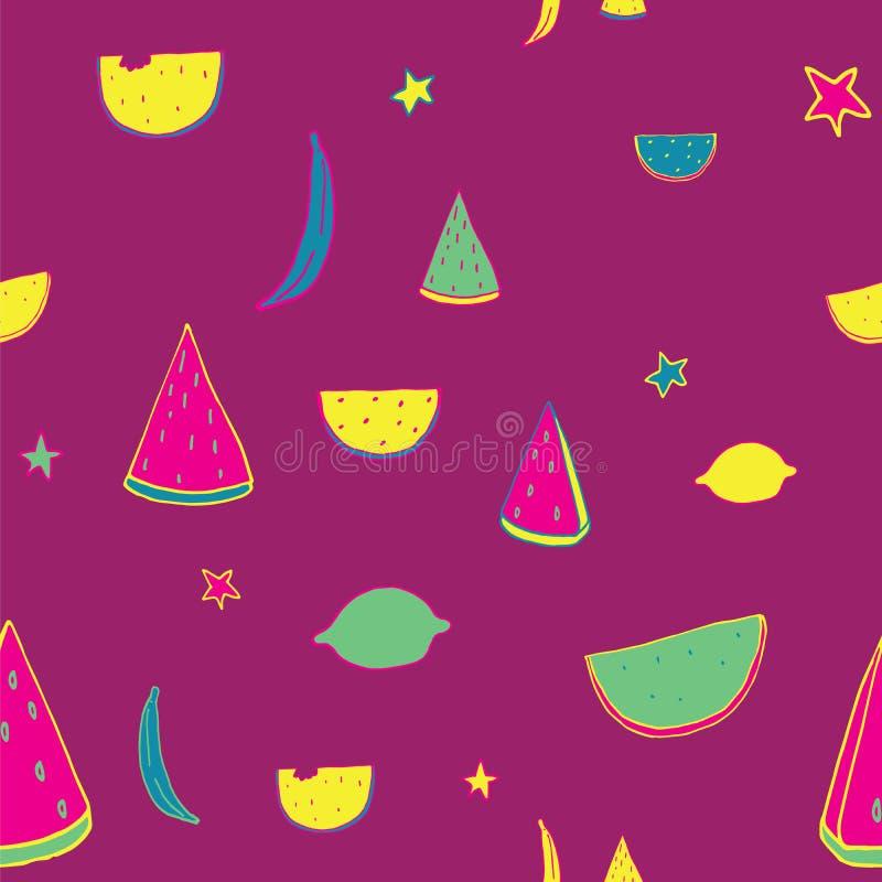 明亮的可爱的样式用作为香蕉,柠檬,西瓜的手拉的果子在紫色背景片 向量例证