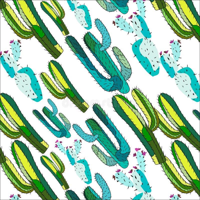 明亮的可爱的老练仙人掌油漆的墨西哥人夏威夷热带花卉草本夏天绿色对角样式喜欢儿童vecto 皇族释放例证