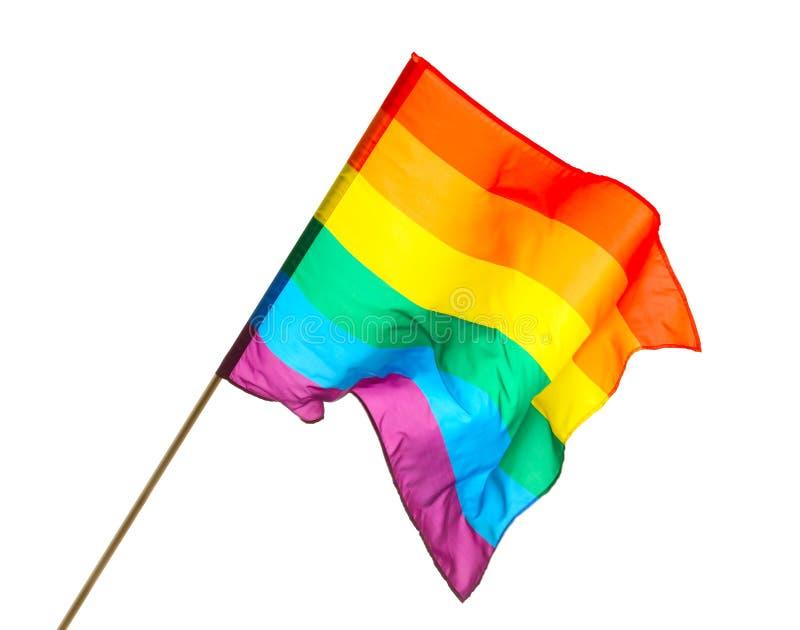 明亮的在白色背景的彩虹快乐旗子 库存图片