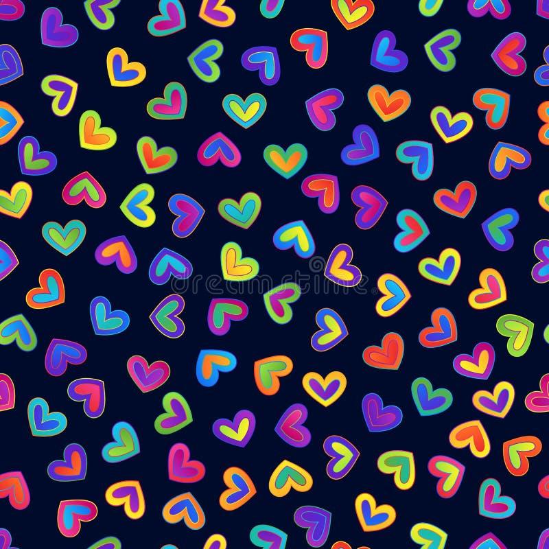 明亮的在黑暗后面的梯度五颜六色的心脏的无缝的样式 库存例证