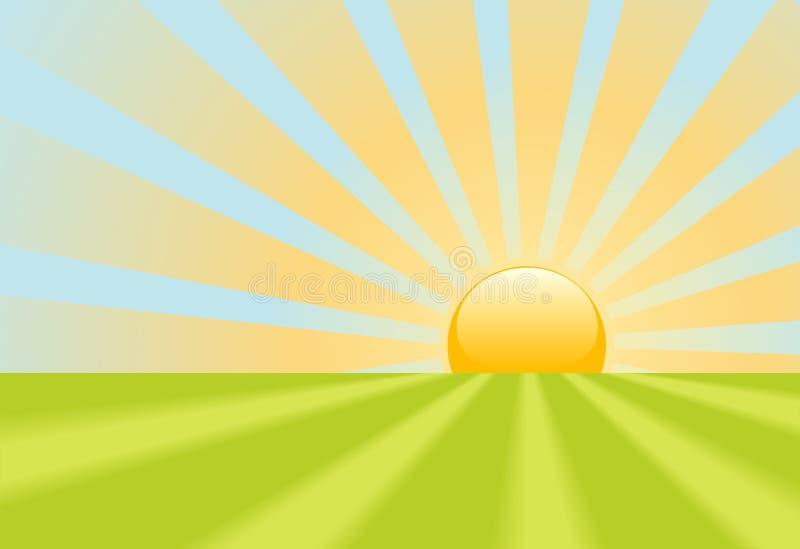 明亮的地球光芒场面亮光日出黄色 向量例证