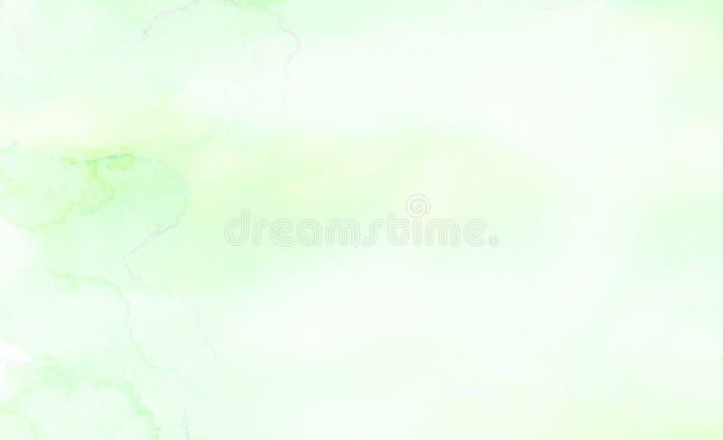 明亮的墨水浅绿色的水彩绘了纸织地不很细背景 减速火箭的抽象春天遮蔽水彩画例证 库存图片