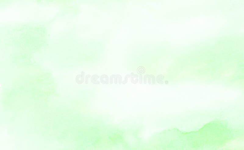 明亮的墨水浅绿色的水彩绘了纸织地不很细背景 减速火箭的抽象春天遮蔽水彩画例证 库存例证