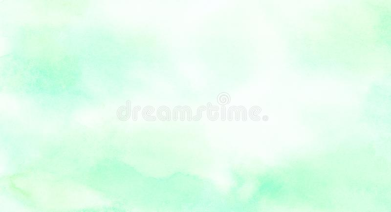 明亮的墨水浅绿色的水彩绘了纸织地不很细背景 减速火箭的抽象春天遮蔽水彩画例证 库存照片