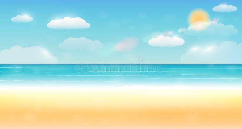 明亮的夏天天空海沙海滩背景 向量例证
