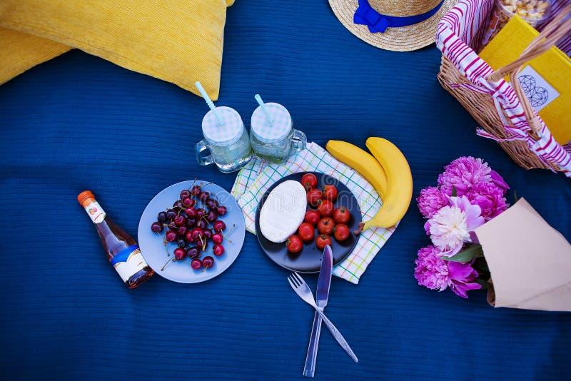 明亮的夏天野餐在自然夏天,太阳,幸福 免版税图库摄影