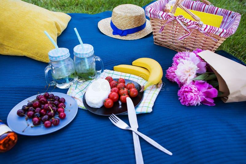 明亮的夏天野餐在自然夏天,太阳,幸福 免版税库存图片