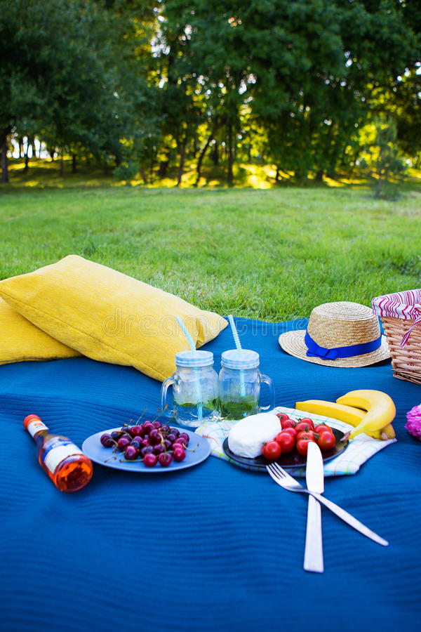 明亮的夏天野餐鲜美食物和明亮的情感 免版税图库摄影
