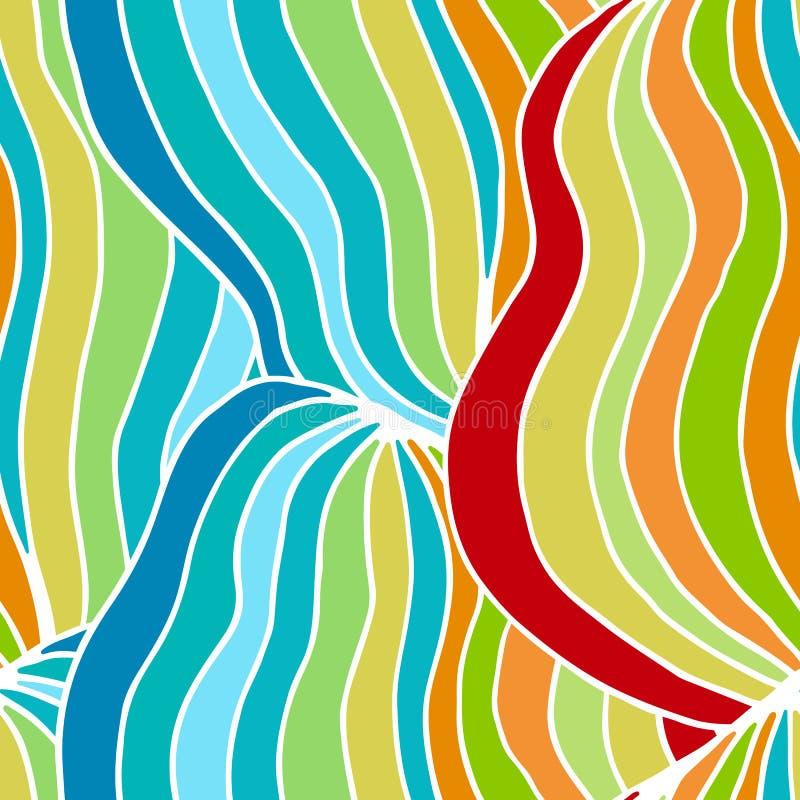 明亮的夏天颜色、现代波浪和马赛克圈子纹理 Boho印刷品的时尚样式,蜡染布,丝绸纺织品 疯狂的颜色se 向量例证
