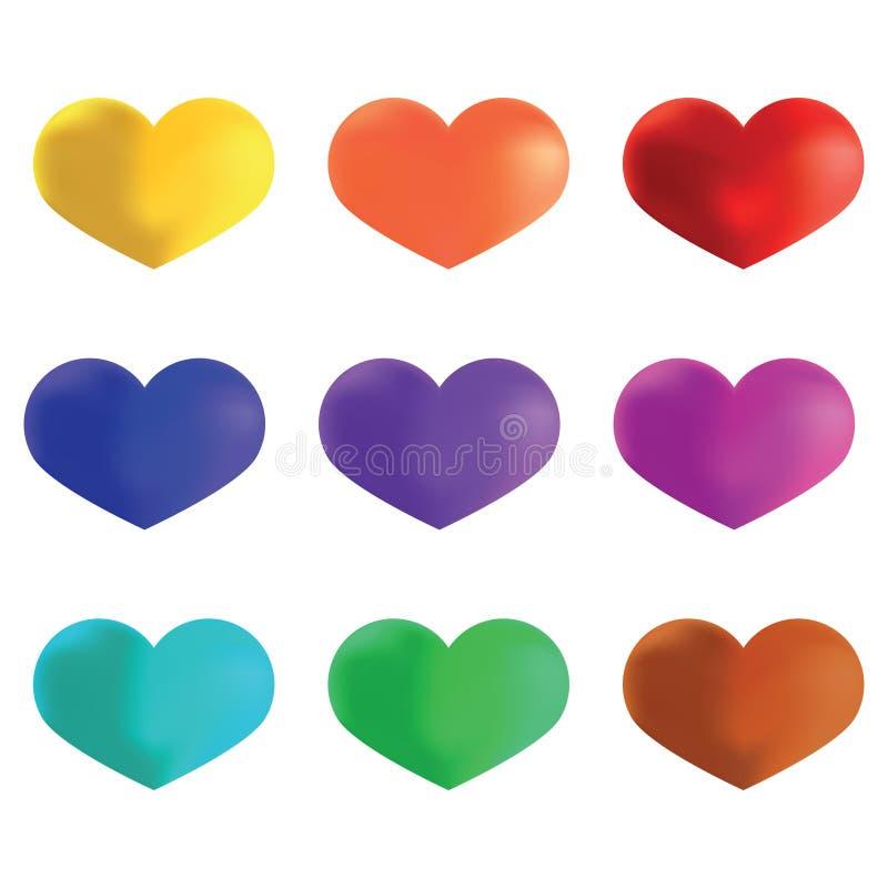 明亮的多彩多姿的心脏,模板为情人节和我们 向量例证