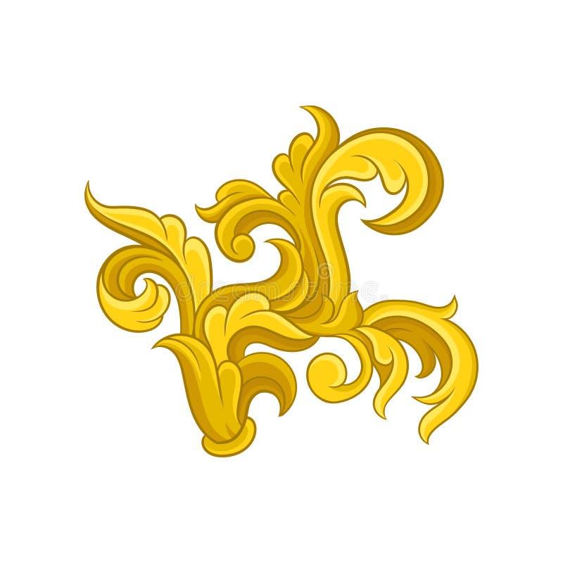 明亮的巴洛克式的装饰品 在维多利亚女王时代的样式的金黄样式 明信片或婚姻的邀请的装饰传染媒介元素 皇族释放例证