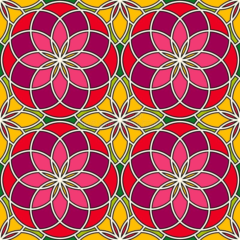 明亮的彩色玻璃背景 五颜六色的与装饰圆的装饰品的万花筒无缝的样式 花卉主题 向量例证