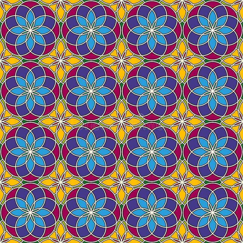 明亮的彩色玻璃背景 五颜六色的与装饰圆的装饰品的万花筒无缝的样式 花卉主题 皇族释放例证