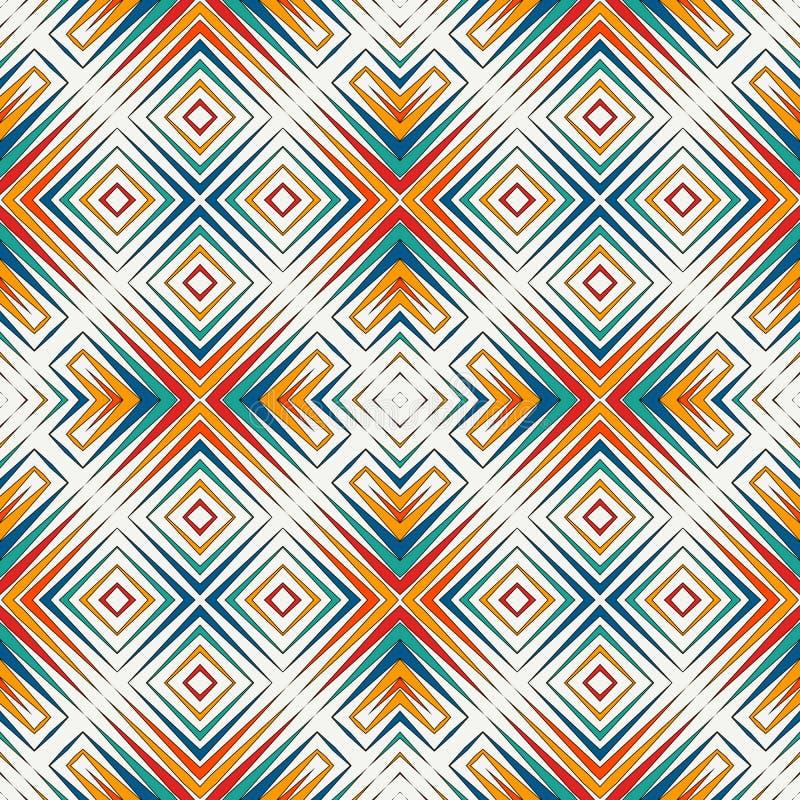 明亮的彩色玻璃马赛克摘要背景 风格化万花筒装饰品 无缝几何的模式 向量例证