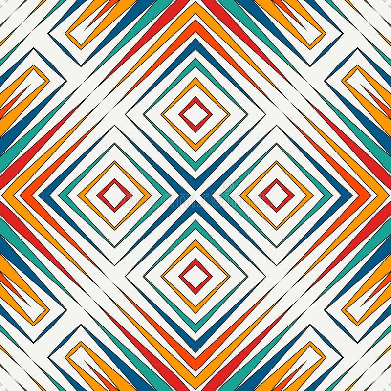 明亮的彩色玻璃马赛克摘要背景 风格化万花筒装饰品 无缝几何的模式 库存例证