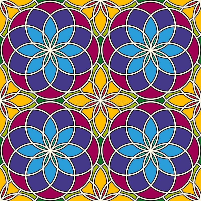 明亮的彩色玻璃背景 五颜六色的与装饰圆的装饰品的万花筒无缝的样式 花卉主题 库存例证