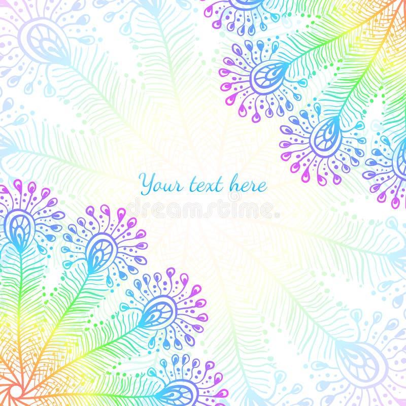 明亮的彩虹传染媒介孔雀用羽毛装饰背景 库存例证