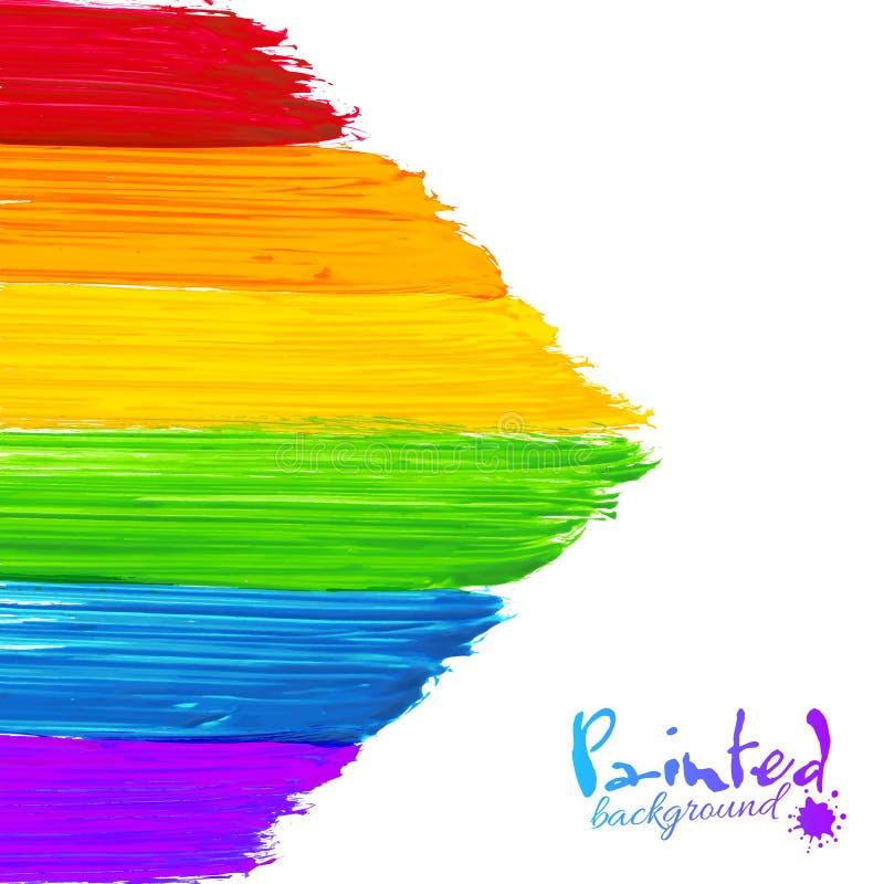 明亮的彩虹油漆抚摸箭头背景 库存例证