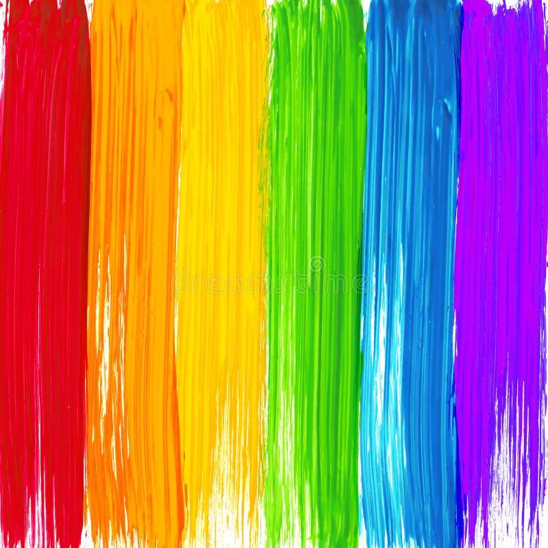 明亮的彩虹油漆抚摸背景 库存例证