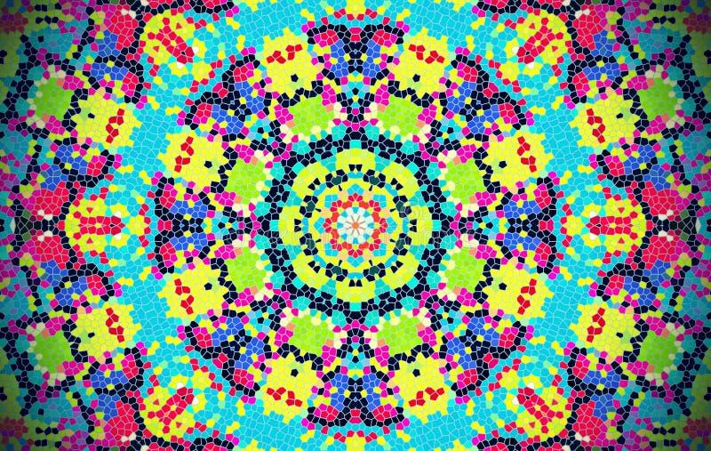 明亮的抽象同心马赛克样式 向量例证