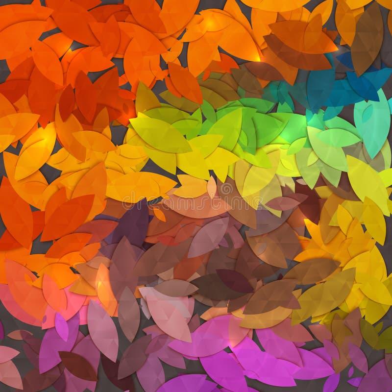 明亮的抽象秋天叶子传染媒介背景 库存例证