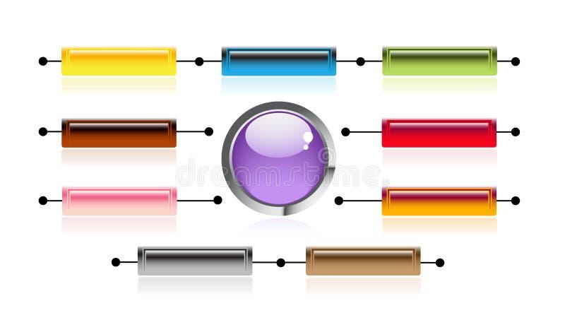 明亮的按钮互联网 库存例证